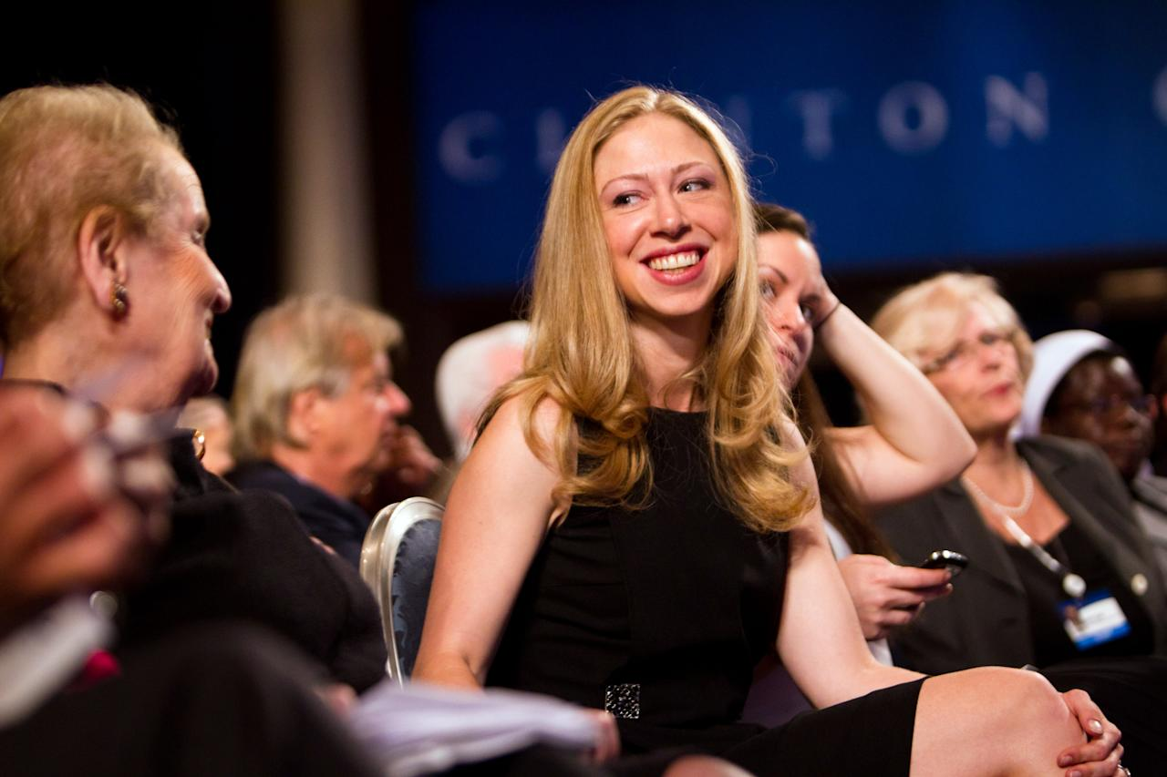 NEW YORK - SEPTEMBER 21: Chelsea Clinton (C), daughter of former U.S. President Bill Clinton, speaks with former U.S. Secretary of State Madeleine Albright during the seventh annual meeting of the Clinton Global Initiative (CGI) at the Sheraton New York Hotel on September 21, 2011 in New York City. Established in 2005 by former U.S. President Bill Clinton, the CGI assembles global leaders to develop and implement solutions to some of the world's most urgent problems. (Photo by Daniel Berehulak/Getty Images)
