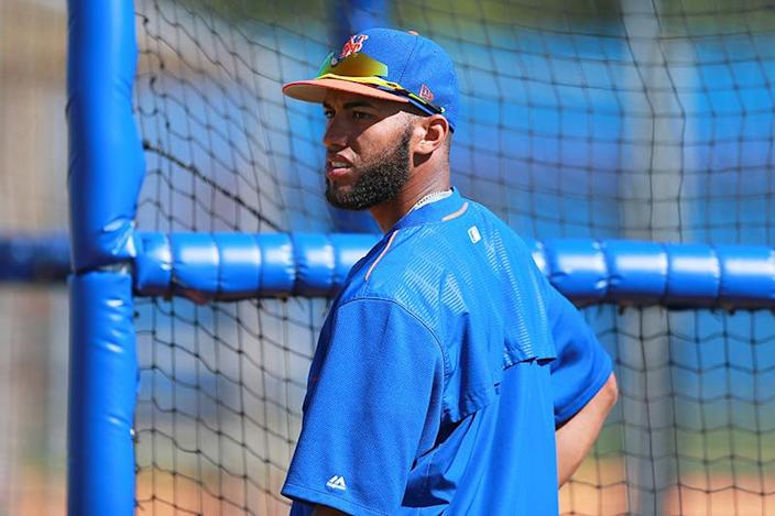 <p>New York Mets top prospect Amed Rosario during batting practice at the Mets spring training facility in Port St. Lucie, Fla., on Sunday, Feb. 26, 2017. Rosario is the fifth top prospect in MLB. (Gordon Donovan/Yahoo Sports) </p>