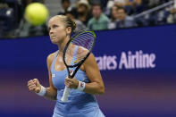 Shelby Rogers, of the United States, reacts after scoring a point against Ashleigh Barty, of Australia, during the third round of the US Open tennis championships, Saturday, Sept. 4, 2021, in New York. (AP Photo/Frank Franklin II)