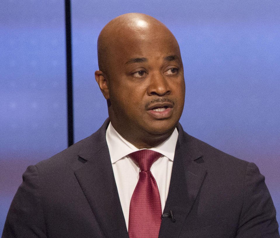 In this Sunday, Oct. 22, 2017 photo, Kwanza Hall answers a question during the Atlanta Police Foundation's Atlanta Mayoral debate hosted by WSB-TV at their studios in Atlanta.. Crime and safety were the main topic of discussion during live debate. (Phil Skinner/Atlanta Journal-Constitution via AP)