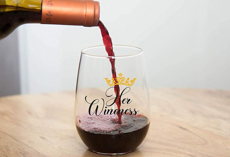 Her Wineness Funny Wine Glass. (Photo: Amazon)