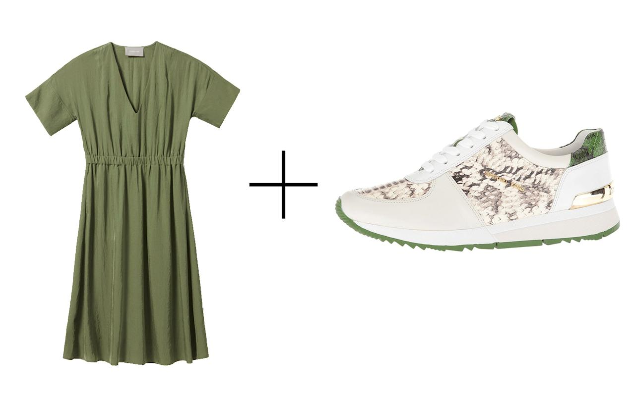 "<p>A dress and sneaker combo doesn't necessarily need to be sporty. This beautiful olive green V-neck dress from Everlane is so effortlessly chic — and wrinkle-resistant. To match its vibe, we love these Michael Kors' leather embossed sneakers that feature metal accents.</p> <p>To buy: (dress) <a rel=""nofollow"" href=""http://www.pntrs.com/t/8-9711-131940-104709?sid=TL,14ChicDressandSneakerPairingstoTravelinThisFall,szypulsr,FAS,GAL,713035,201810,I&url=https%3A%2F%2Fwww.everlane.com%2Fproducts%2Fwomens-jpns-lt-goweav-sl-v-neck-drss-surplus"">everlane.com</a>, $79-$94; (sneakers) <a rel=""nofollow"" href=""http://www.anrdoezrs.net/links/7876402/type/dlg/sid/TL,14ChicDressandSneakerPairingstoTravelinThisFall,szypulsr,FAS,GAL,713035,201810,I/https://www.zappos.com/p/michael-michael-kors-allie-trainer-natural-cream-true-green-marked-embossed-snake-vachetta/product/8533593/color/775736"">zappos.com</a>, $135</p>"