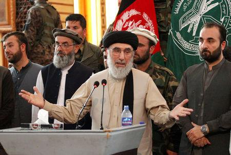 Afghan warlord Gulbuddin Hekmatyar speaks to supporters in Jalalabad province