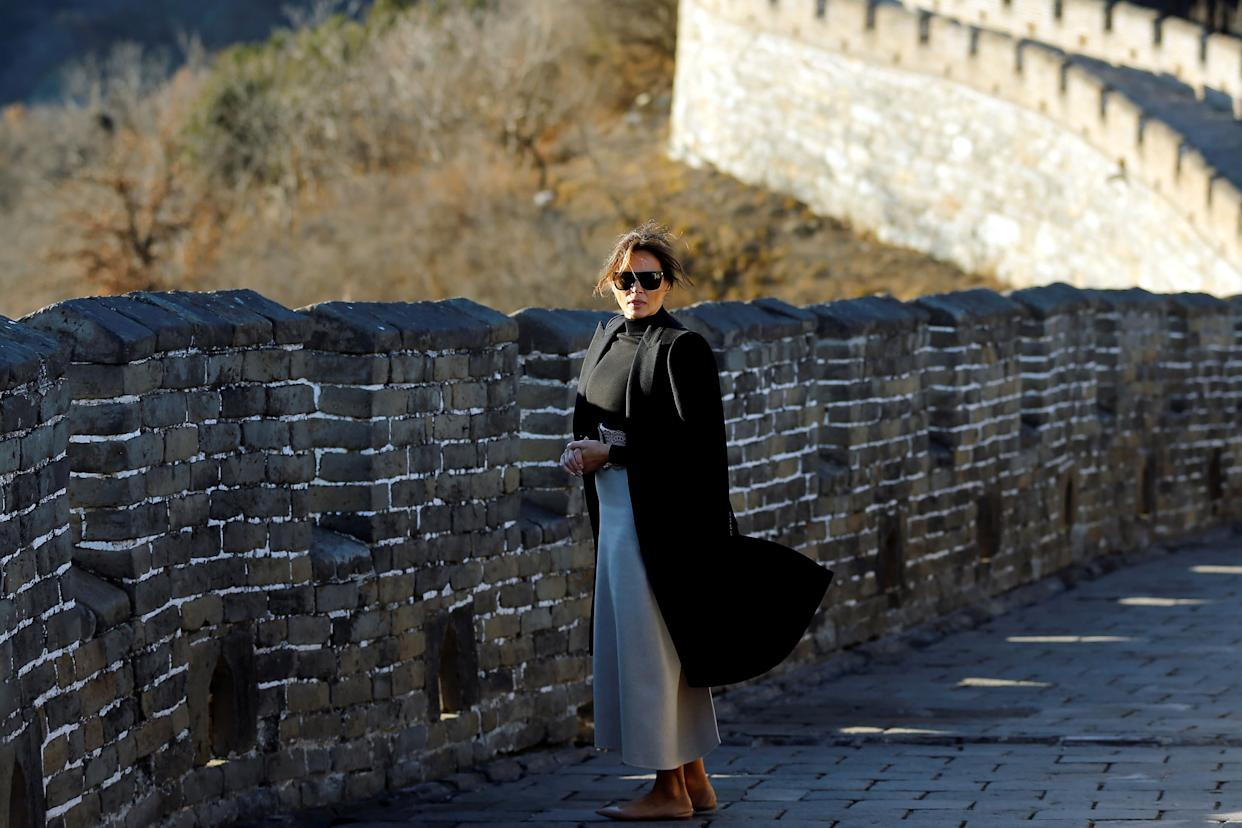 Melania Trump visits the Mutianyu section of the Great Wall of China.