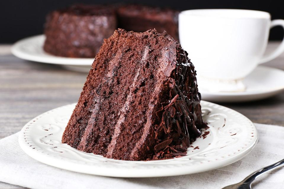 """This is the easiest chocolate cake in the world—perhaps in the universe! You don't even need eggs, butter, or milk, and you probably have all the ingredients on hand. This is one of the best easy cake recipes to rely on in a pinch because nothing needs to be creamed, beaten, or whipped. You literally just stir things together. It tastes like the best dark chocolate sponge cake you have ever eaten. Plus, you really can please all kinds of people with this one. It happens <a href=""""https://www.epicurious.com/recipes-menus/gluten-free-dairy-free-vegan-cakes-desserts-gallery?mbid=synd_yahoo_rss"""" rel=""""nofollow noopener"""" target=""""_blank"""" data-ylk=""""slk:to be vegan"""" class=""""link rapid-noclick-resp"""">to be vegan</a>, since there are no dairy products in it. <a href=""""https://www.epicurious.com/recipes/food/views/easiest-chocolate-cake-354010?mbid=synd_yahoo_rss"""" rel=""""nofollow noopener"""" target=""""_blank"""" data-ylk=""""slk:See recipe."""" class=""""link rapid-noclick-resp"""">See recipe.</a>"""