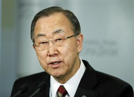 United Nations Secretary General Ban Ki-moon addresses journalists in Kiev