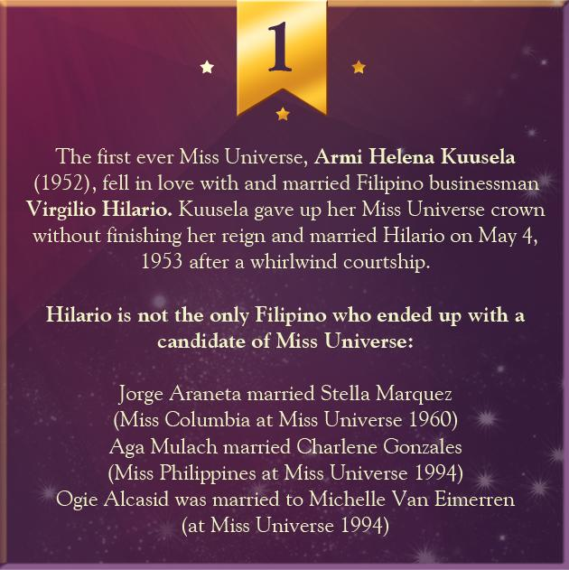 1. The first ever Miss Universe, Armi Helena Kuusela (1952), fell in love with and married Filipino businessman Virgilio Hilario. Kuusela gave up her Miss Universe crown without finishing her reign and married Hilario on May 4, 1953 after a whirlwind courtship.