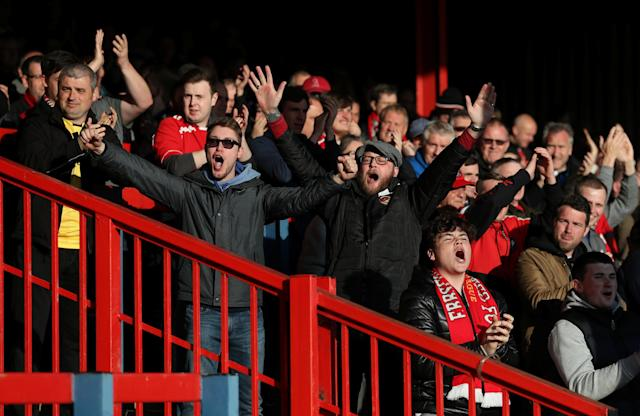 Soccer Football - National League Play-Off Eliminator - Aldershot Town v Ebbsfleet United - EBB Stadium, Aldershot, Britain - May 2, 2018 Ebbsfleet United fans Action Images/Peter Cziborra