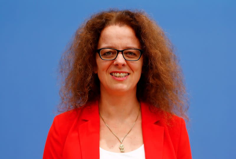 FILE PHOTO: Member of the German advisory board of economic experts Isabel Schnabel poses ahead of a news conference in Berlin