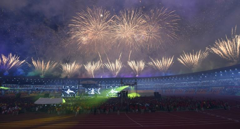 Fireworks light up the sky during the closing ceremony of the SEA Games in Clark, north of Manila