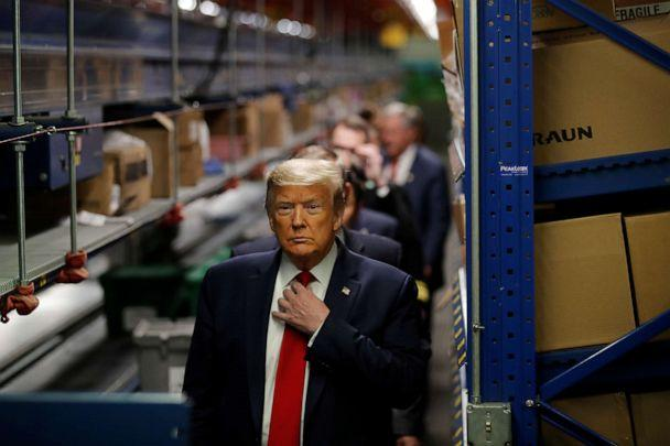 PHOTO: President Donald Trump tours medical equipment distributor Owens & Minor in Allentown, Pa., May 14, 2020. (Carlos Barria/Reuters)