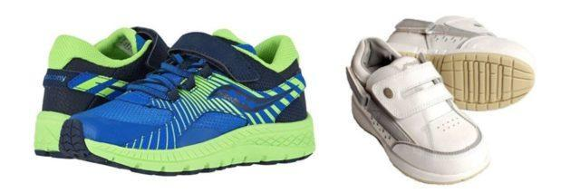 shoes for kids one pair of blue and neon green sneakers and one pair of white shoes both have velcro