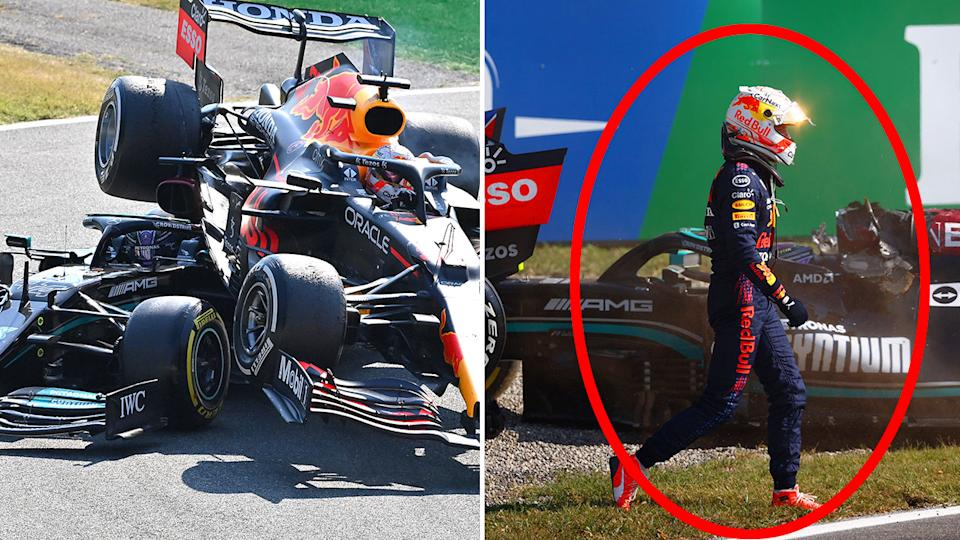 Max Verstappen is seen here walking back to the pits after his crash with Lewis Hamilton.