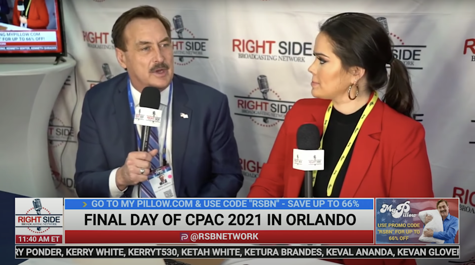 <p>Liz Willis interviews MyPillow CEO Mike Lindell.</p> (YouTube/Right Side Broadcasting Network)