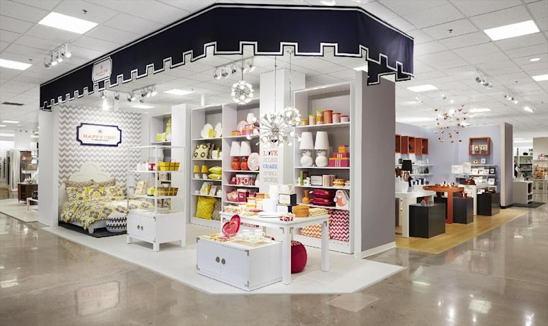 This undated image provided by J.C Penney shows a design for a new Jonathan Adler section in the home area of the department store. The struggling department store chain is set to unveil Friday, April 5, 2013, an overhauled home area that will feature a string of shops filled with such items as bright blue geometric-patterned pillows, stylish stainless steel tea kettles and sleek oak coffee tables. (AP Photo/J.C Penney, Chris Rupert)