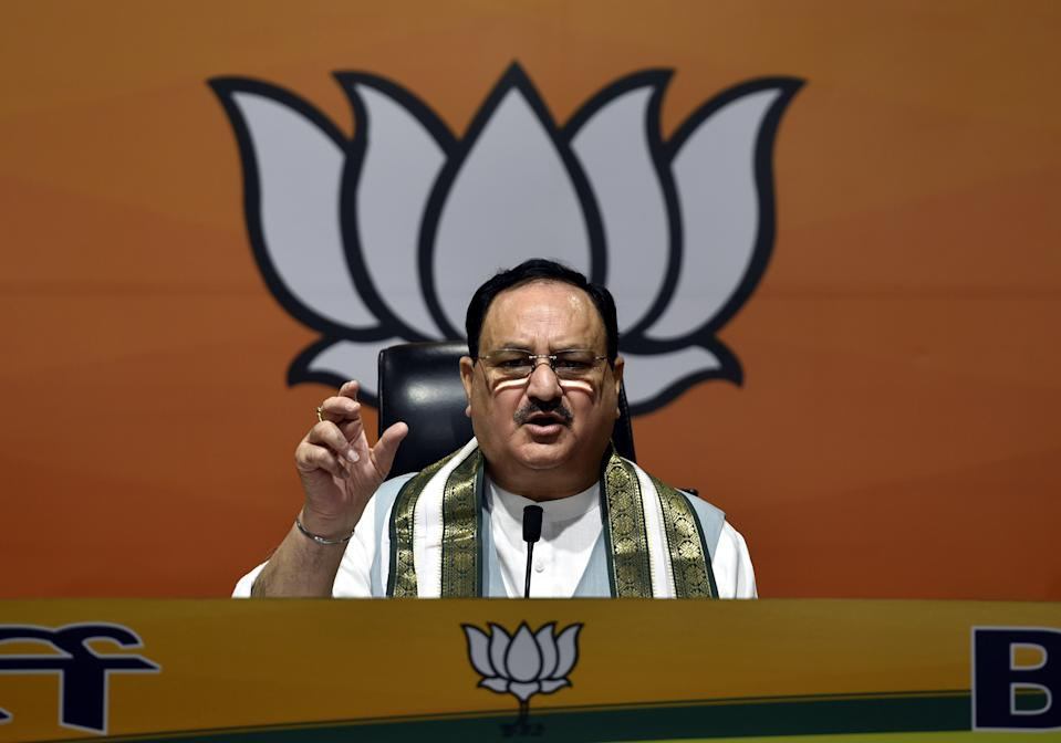 NEW DELHI, INDIA - SEPTEMBER 18: BJP National President JP Nadda addresses the gathering during the release of Kamal Sandesh's special edition to mark Prime Minister Narendra Modi's 70th birthday at BJP National Headquarters on September 18, 2020 in New Delhi, India. (Photo by Sanjeev Verma/Hindustan Times via Getty Images)
