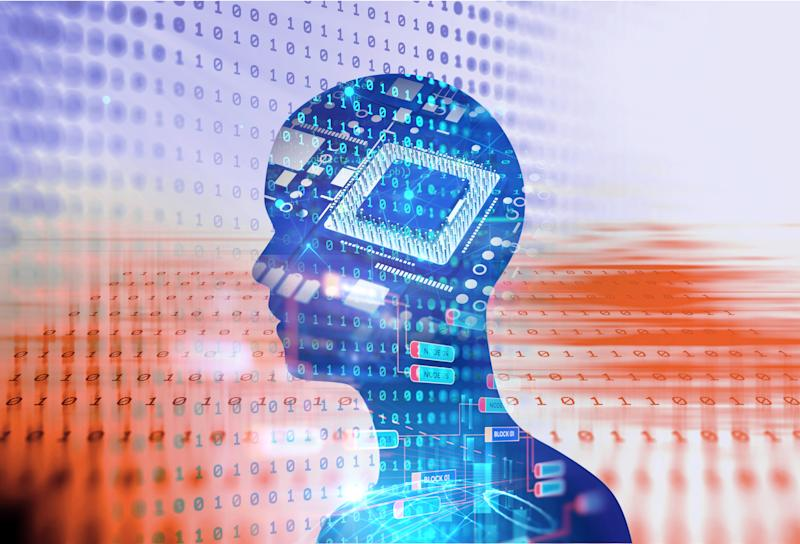 Profile of a person overlaid on a semiconductor and digital background -- concept for AI.