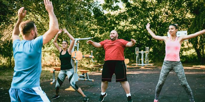 """Jumping jacks are an easy way to get your heart pumping and improve blood flow. <p class=""""copyright"""">Aleksander Georgiev/Getty Images</p>"""