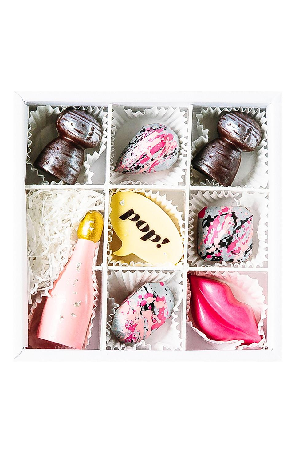 "<p><strong>Maggie Louise Confections</strong></p><p>nordstrom.com</p><p><strong>$38.00</strong></p><p><a href=""https://shop.nordstrom.com/s/maggie-louise-confections-pop-champagne-8-piece-chocolate-set/5055860"" rel=""nofollow noopener"" target=""_blank"" data-ylk=""slk:SHOP NOW"" class=""link rapid-noclick-resp"">SHOP NOW</a></p><p>Take your <a href=""https://www.womansday.com/food-recipes/g2811/valentines-day-cookies/"" rel=""nofollow noopener"" target=""_blank"" data-ylk=""slk:chocolate-gifting game"" class=""link rapid-noclick-resp"">chocolate-gifting game</a> to the next level with this celebration candy set.</p>"