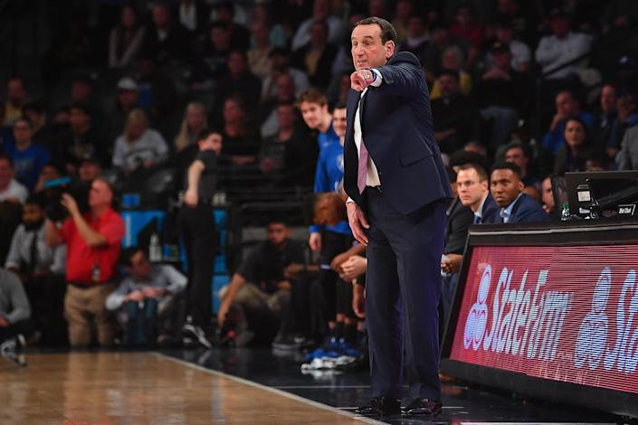 He doesn't care when it's held or what it looks like, but Duke coach Mike Krzyzewski knows how vital it is to have the NCAA tournament next year. (Rich von Biberstein/Icon Sportswire/Getty Images)