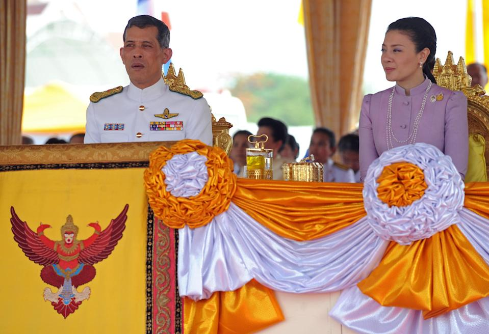"<p>Maha Vajiralongkorn ascended to the throne following his father's death on 1 December 2016. He rules Thailand alongside his former wife, Princess Srirasmi, and at 64 was <a rel=""nofollow noopener"" href=""https://www.telegraph.co.uk/business/2018/05/18/pictures-worlds-richest-royals/maha-vajiralongkorn/"" target=""_blank"" data-ylk=""slk:reportedly"" class=""link rapid-noclick-resp"">reportedly</a> named the oldest Thai monarch to ascend to the throne.<em> [Photo: Getty] </em> </p>"