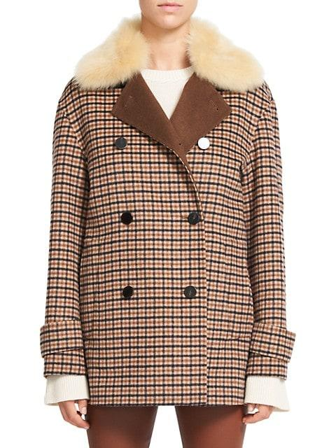 Faux Shearling-Collar Plaid Peacoat