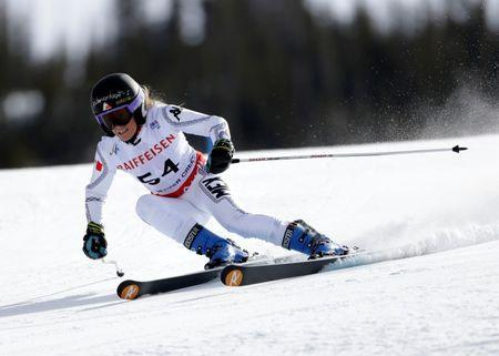 Feb 12, 2015; Beaver Creek, CO, USA; Sarah Schleper of Mexico during run one of the womens giant slalom in the FIS alpine skiing world championships at Raptor Racecourse. Mandatory Credit: Erich Schlegel-USA TODAY Sports