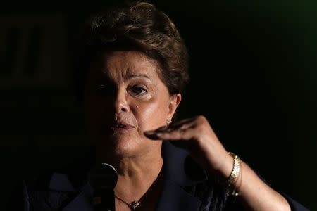 Brazil's President Dilma Rousseff speaks during a news conference after a meeting at the CNI headquarters in Brasilia