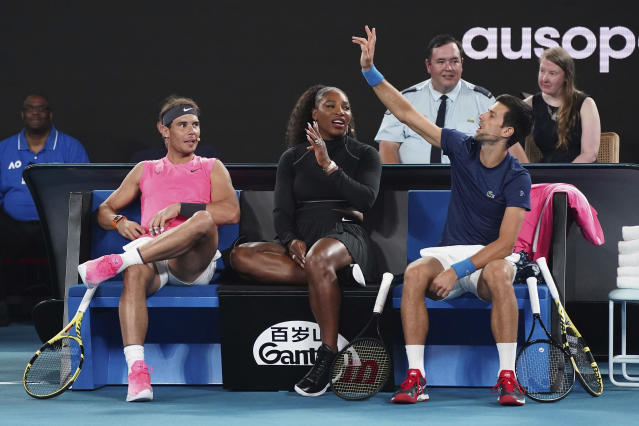 From left, Rafael Nadal of Spain, Serena Williams of the United States and Novak Djokovic of Serbia participate in the Rally For Relief at Rod Laver Arena in Melbourne, Wednesday, Jan. 15, 2020. Tennis stars have come together for the Rally for Relief to raise money in aid of the bushfire relief efforts across Australia. (Scott Barbour/AAP Image via AP)