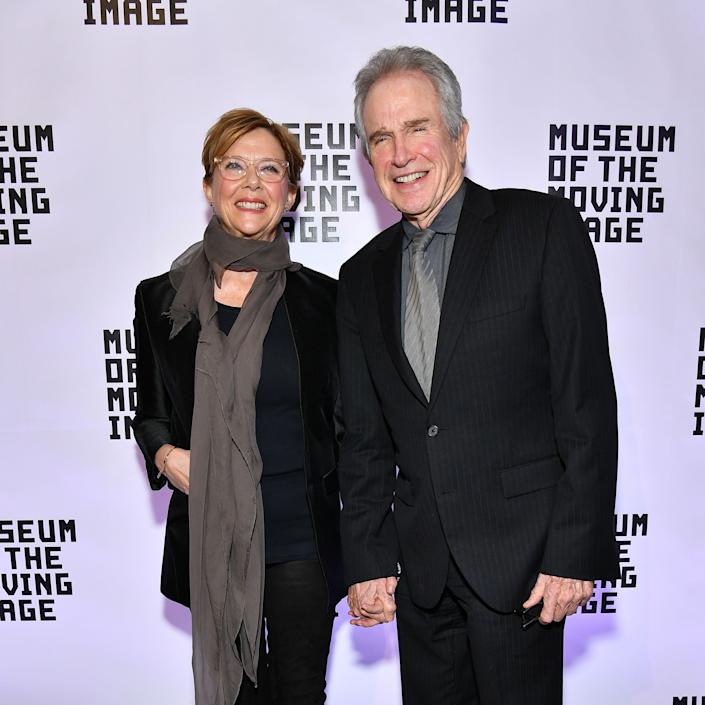 NEW YORK, NY - DECEMBER 13: Annette Bening (L) and Warren Beatty attend the Museum of the Moving Image Salute to Annette Bening at 583 Park Avenue on December 13, 2017 in New York City. (Photo by Dia Dipasupil/Getty Images)
