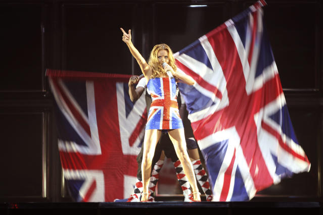 Geri Halliwell of the Spice Girls performs during the San Jose leg of their Return of Spice Girls World Tour on December 4, 2007 in San Jose, California. (Photo by MJ Kim/Spice Girls LLP via Getty Images)