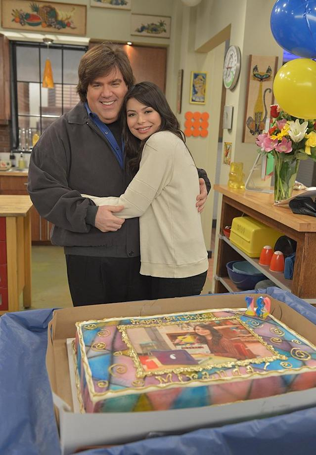 Miranda Cosgrove of <em>iCarly</em> celebrated her 19th birthday on set with creator Dan Schneider at Nickelodeon Studios. (Photo by Charley Gallay/WireImage)