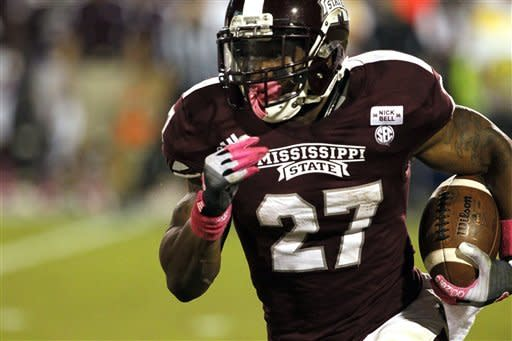 Mississippi State running back LaDarius Perkins (27) runs for short yardage in the second quarter of an NCAA college football game against Tennessee in Starkville, Miss., Saturday, Oct. 13, 2012. (AP Photo/Rogelio V. Solis)