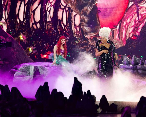 PHOTO: Auli'i Cravalho, left, as Ariel, and Queen Latifah, right, as Ursula, perform in the spectacular, live musical event showcasing 'The Little Mermaid' on ABC. (Mitch Haaseth/ABC)