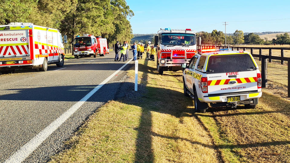 The crash scene, pictured here in the NSW Hunter Valley.