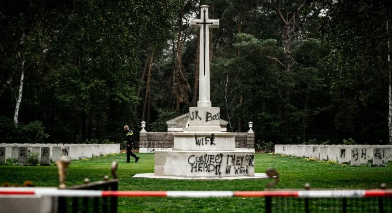 The defacing of the cemetery comes as the Netherlands commemorates the 75th anniversary of its liberation from the Nazis