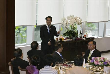 Zhang Xiaoming, director of China's Liaison Office, speaks during a lunch meeting at the Legislative Council in Hong Kong