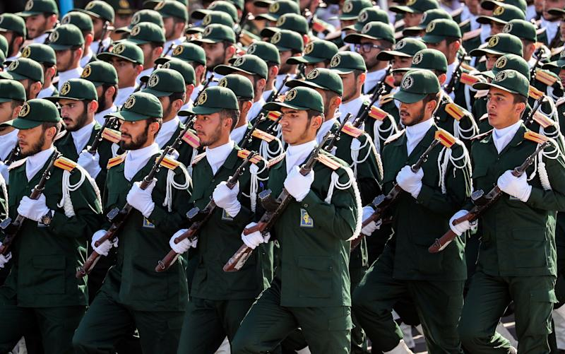 Members of Iran's Revolutionary Guards Corps march during an annual military parade marking the anniversary of the outbreak of the devastating 1980-1988 war with Saddam Hussein's Iraq.