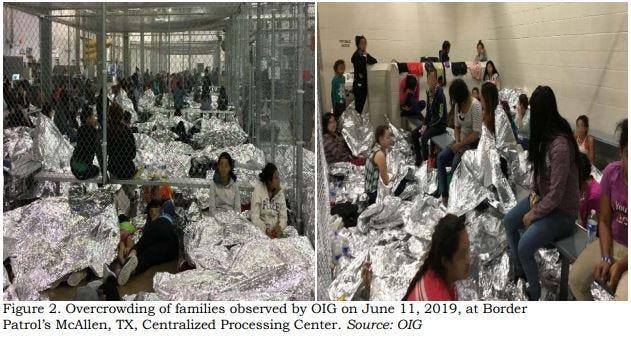This image released in a report on July 2, 2019 by the Department of Homeland Security's Inspector General Office shows migrant families overcrowding a Border Patrol facility on June 11, 2019 in McAllen, Texas.