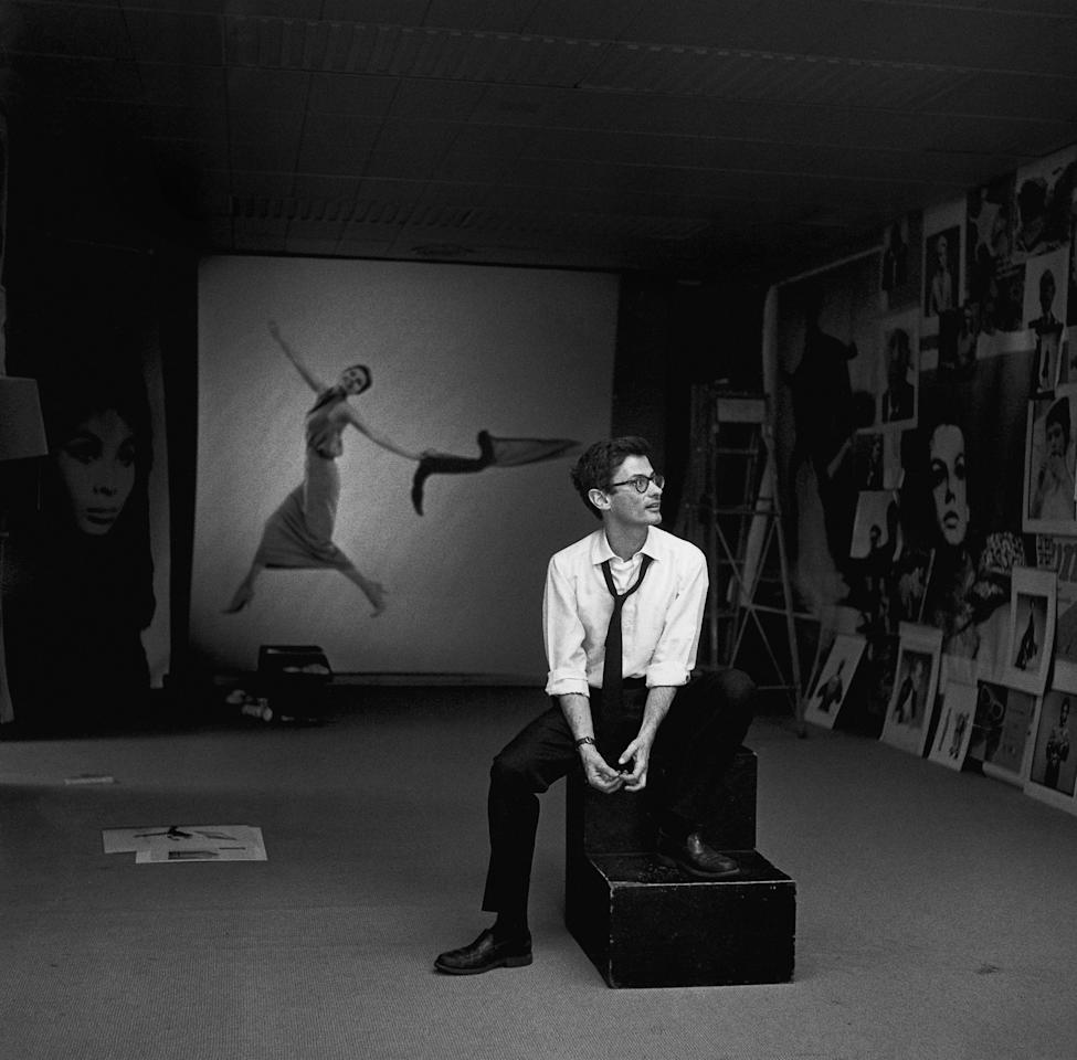 Richard Avedon, <em>Avedon with collage,</em> 1965. Featured in <em>Avedon</em> by Gideon Lewin, published by powerHouse Books.