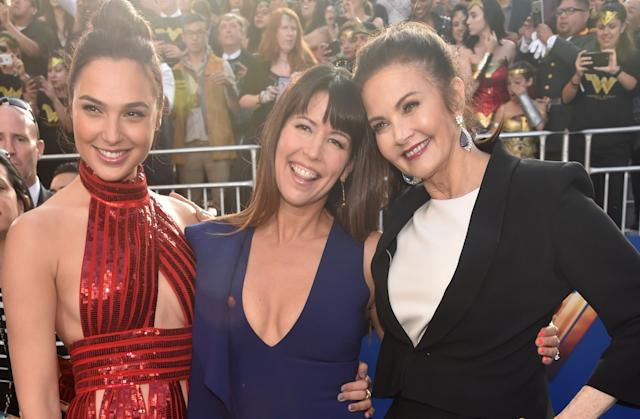 """Most recent """"Wonder Woman"""" actress Gal Gadot (L), """"Wonder Woman"""" director Patty Jenkins and Carter (R) at the premiere of the 2017 """"Wonder Woman"""" remake in Hollywood, California."""