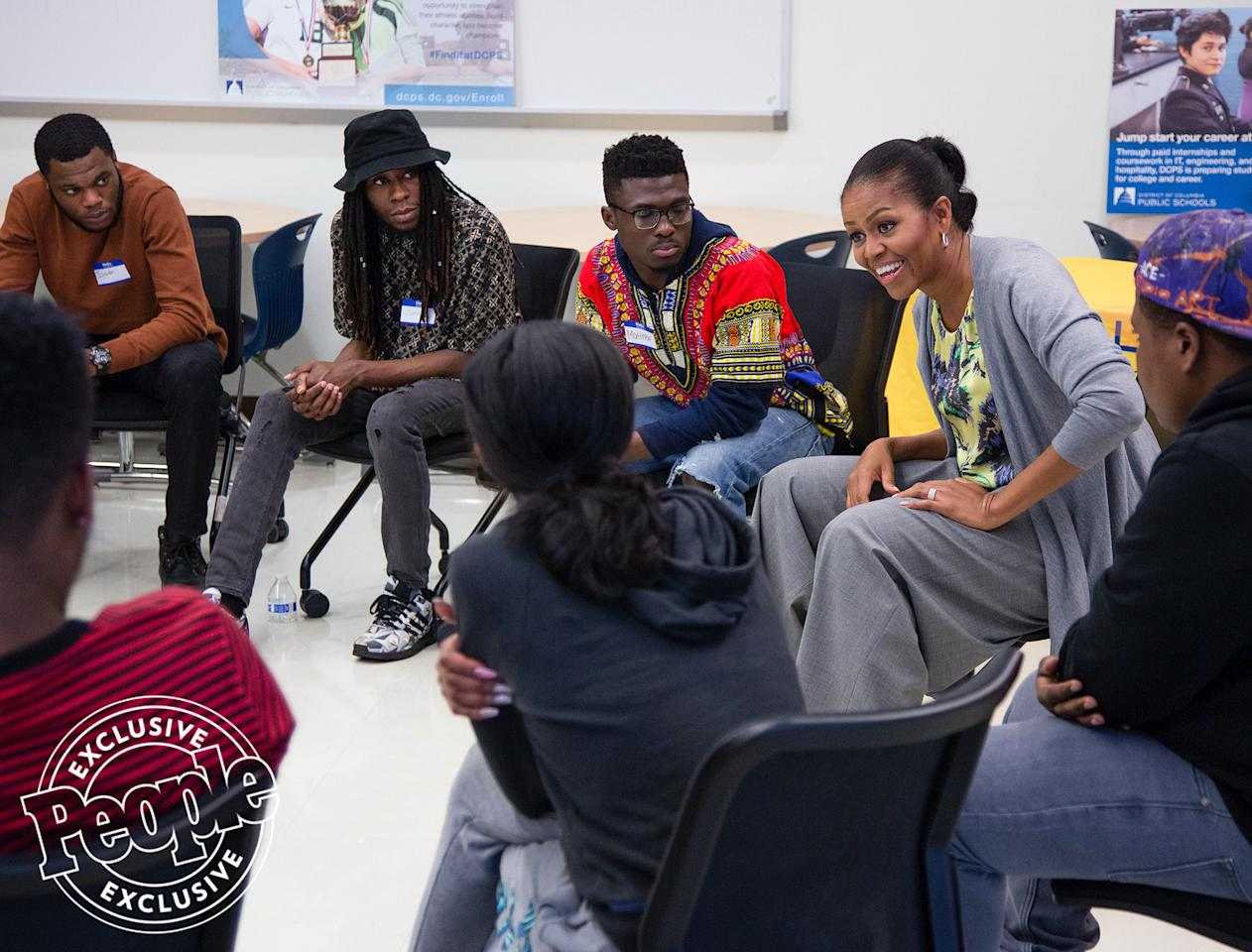 <p>At Ballou STAY (School to Aid Youth) in Washington, D.C., Michelle spent two and a half hours talking with adult students working to finish their high school degrees.</p>