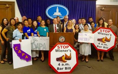 Los Angeles City Councilmember Paul Koretz with CAPA members at a press conference on August 31, 2017 at L.A. City Hall supporting a resolution opposing Wiener's 4 a.m. Bar Bill. (Photo by Sara Cooley)