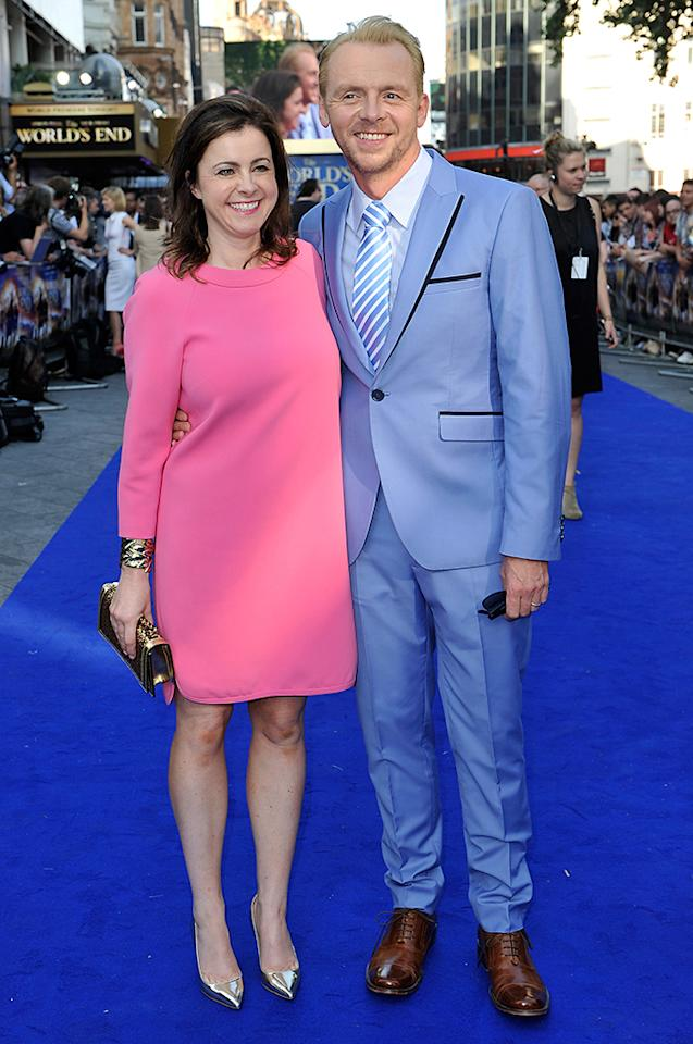 LONDON, ENGLAND - JULY 10:  Actor Simon Pegg and his wife Maureen McCann attend the World Premiere of The World's End at Empire Leicester Square on July 10, 2013 in London, England.  (Photo by Gareth Cattermole/Getty Images for Universal Pictures)