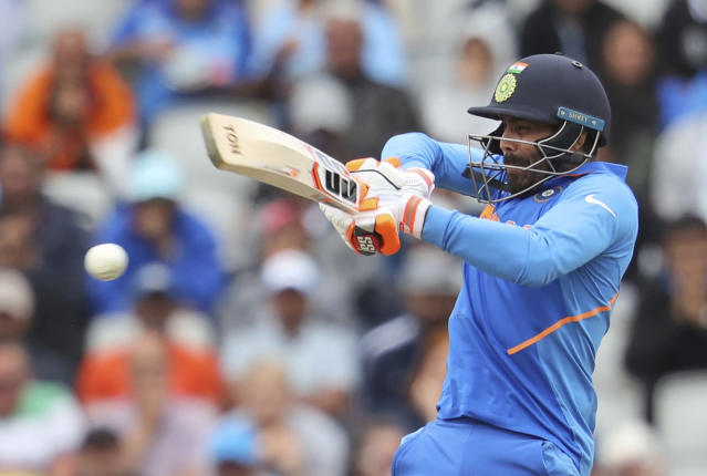 India's Ravindra Jadeja bats during the Cricket World Cup semifinal match between India and New Zealand at Old Trafford in Manchester, Wednesday, July 10, 2019. (AP Photo/Rui Vieira)
