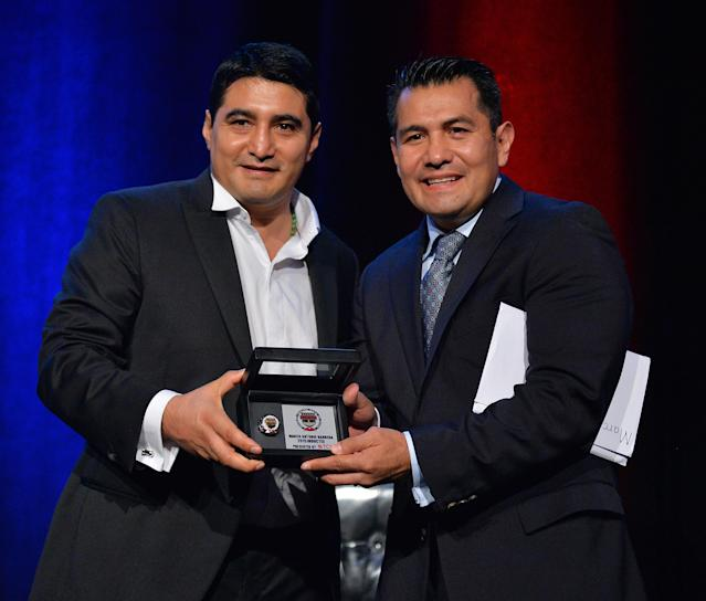 Erik Morales (L), with archrival Marco Antonio Barrera in August at the Nevada Boxing Hall of Fame induction ceremony, was elected Tuesday to the International Boxing Hall of Fame. (Sam Wasson/Getty Images)