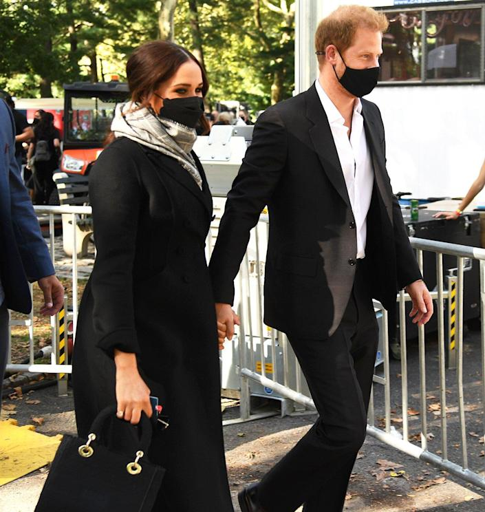 Meghan, Duchess of Sussex (L) and Prince Harry, Duke of Sussex attend Global Citizen Live, New York on September 25, 2021 in New York City.