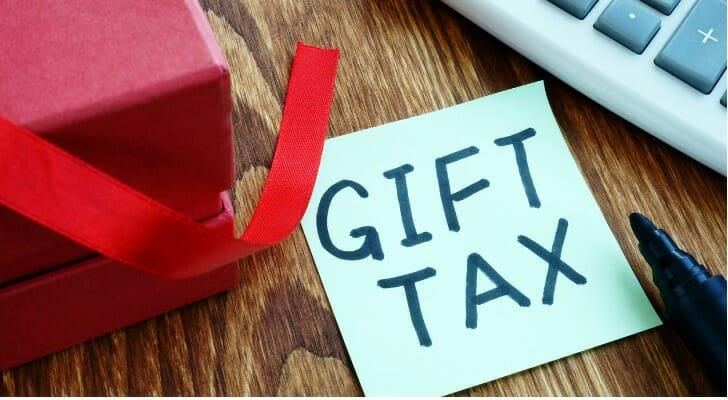 """""""GIFT TAX"""" written on a piece of paper"""