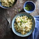<p>Cauliflower rice stands in for arborio in this recipe that's not only lower in carbs than traditional risotto, but also way faster and easier to make! In just 20 minutes you'll have a flavorful and healthy vegetable side to go with dinner.</p>
