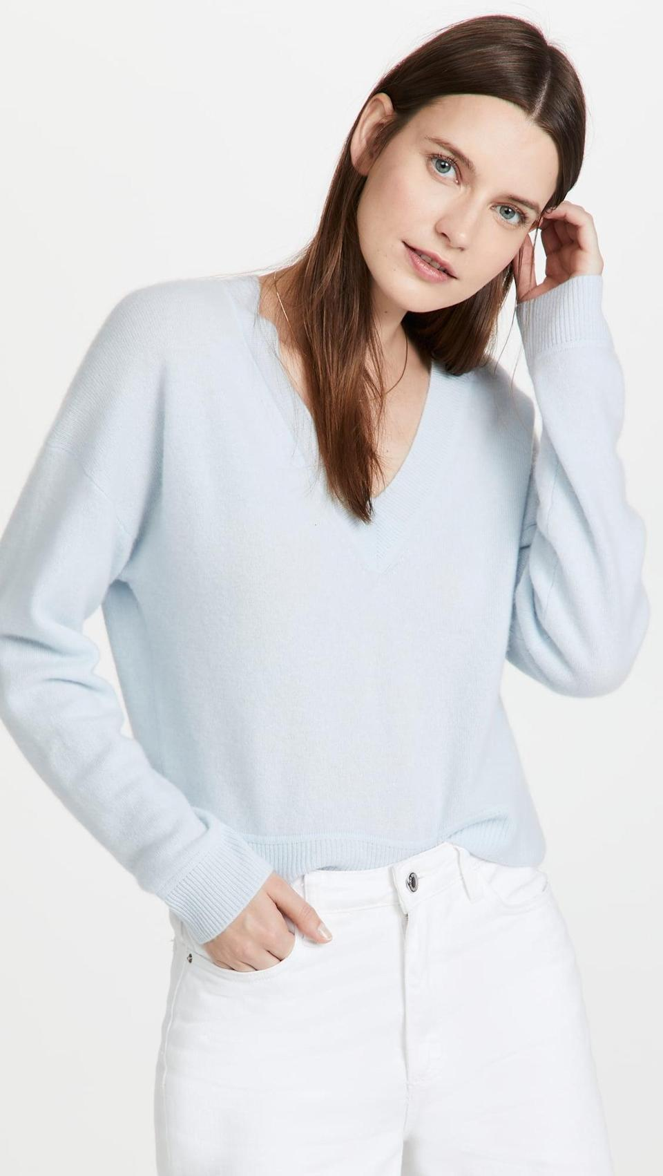 <p>You can't go wrong with this <span>Naadam Cropped V Neck Cashmere Pullover</span> ($250). The cashmere is so luxurious, and the baby blue will always be a pretty color to pick.</p>